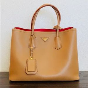 Prada Saffiano Cuir Caramel Red Leather Tote
